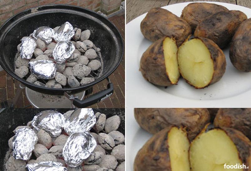 Barbecue gepofte aardappelen