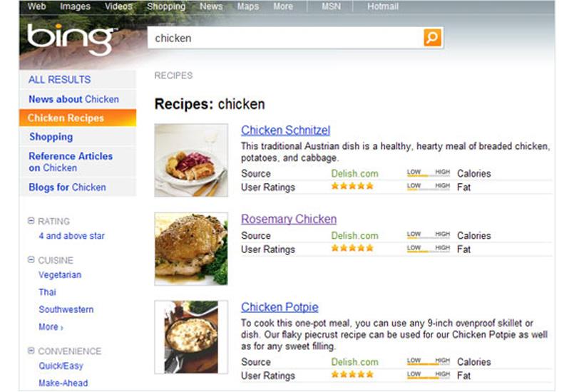 Recepten zoeken met zoekmachine Bing