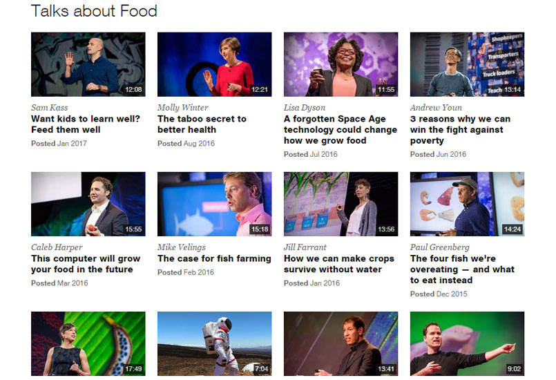 TED Talks about food
